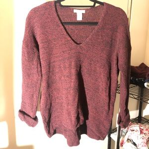 Red Knit V-Neck Sweater
